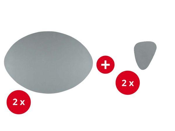 2 Tischsets + 2 Glasuntersetzer aus Recyclingleder grau