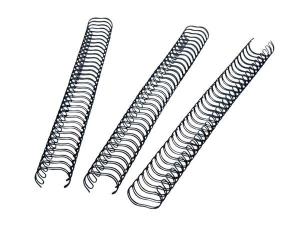 100 Draht-Binderücken 9,5 mm schwarz, 3:1 Teilung