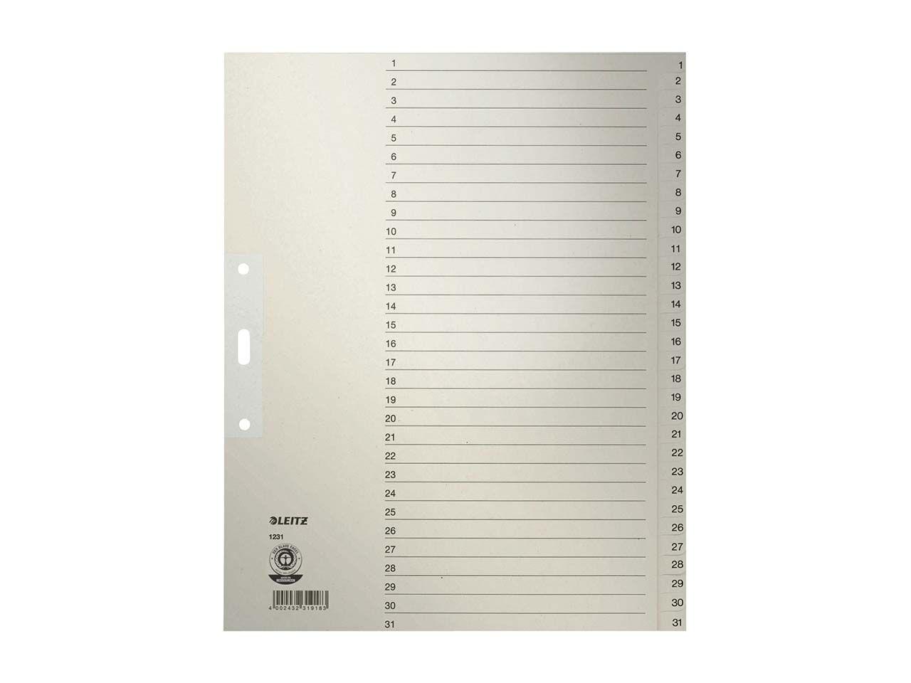 Leitz Register aus Tauenpapier 1-31, A4 Überbreite 12310085