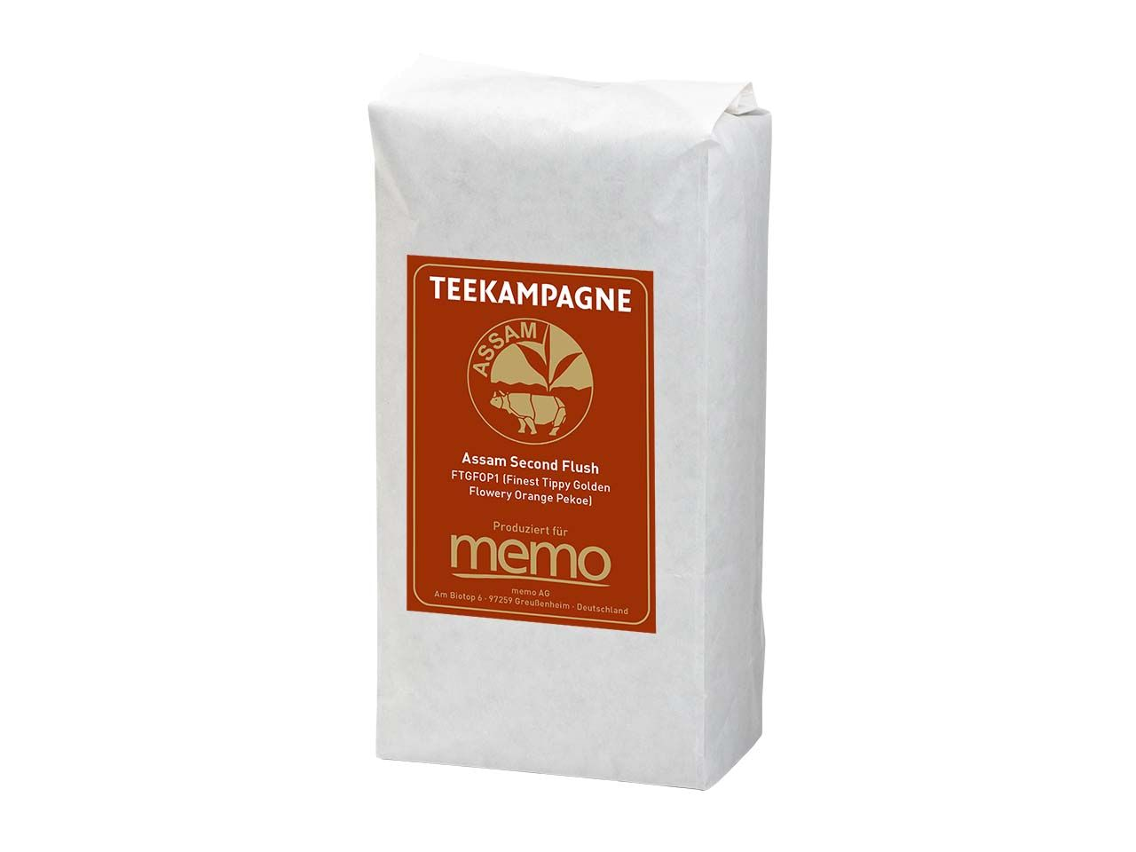 memo/Teekampagne Schwarzer Bio-Tee Assam Second Flush, FTGFOP1, 500 g Assam Second Flush FTGFOP1