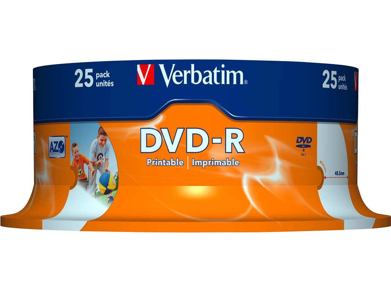 25 Verbatim DVD-R 16x Printable 43538#PK1