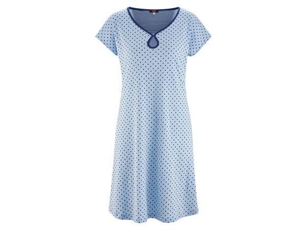 """Living Crafts Bio-Damen-Nachthemd """"Gloria"""" bleu gepunktet, Gr. XL"""